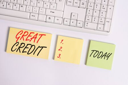 Word writing text Great Credit. Business photo showcasing borrower has high credit score and is a safe credit risk Flat lay above blank copy space sticky notes with business concept