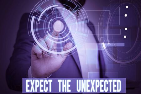 Handwriting text writing Expect The Unexpected. Conceptual photo Anything can Happen Consider all Possible Events Male human wear formal work suit presenting presentation using smart device