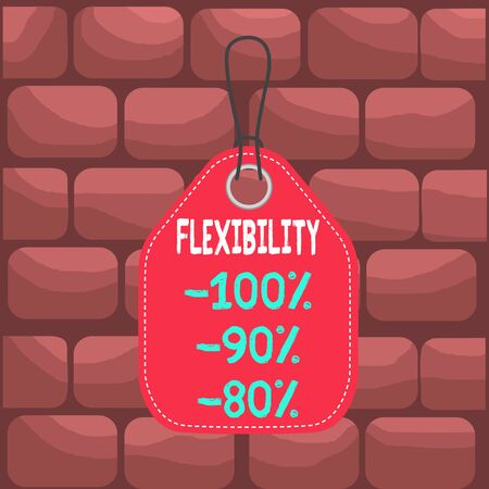 Handwriting text Flexibility 100 Percent 90 Percent 80 Percent. Conceptual photo How much flexible you are maleability level Empty tag blank space colorful background label rectangle attached string Stock Photo