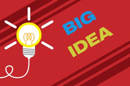 Conceptual hand writing showing Big Idea. Concept meaning Having great creative innovation solution or way of thinking Idea light bulb Successful turning idea invention Startup Stockfoto
