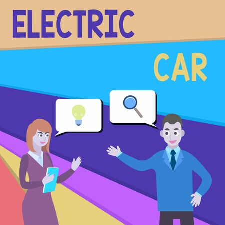Text sign showing Electric Car. Business photo showcasing an automobile that is propelled by one or more electric motors Business Partners Colleagues Jointly Seeking Problem Solution Generate Idea 版權商用圖片