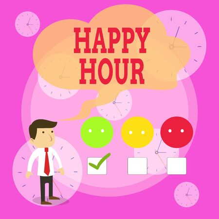 Writing note showing Happy Hour. Business concept for Spending time for activities that makes you relax for a while White Questionnaire Survey Choice Satisfaction Green Tick Reklamní fotografie