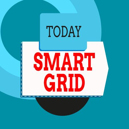 Text sign showing Smart Grid. Business photo text includes of operational and energy measures including meters Blank banner rectangle square above semicircle down Geometrical background