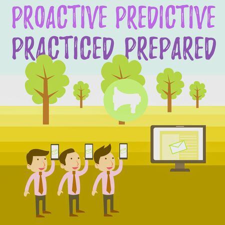 Writing note showing Proactive Predictive Practiced Prepared. Business concept for Preparation Strategies Management SMS Email Marketing Media Audience Attraction PC Loudspeaker 版權商用圖片