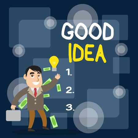 Writing note showing Good Idea. Business concept for State of huanalysis brain to bring great intelegence towards something Successful Businessman Generating Idea or Finding Solution
