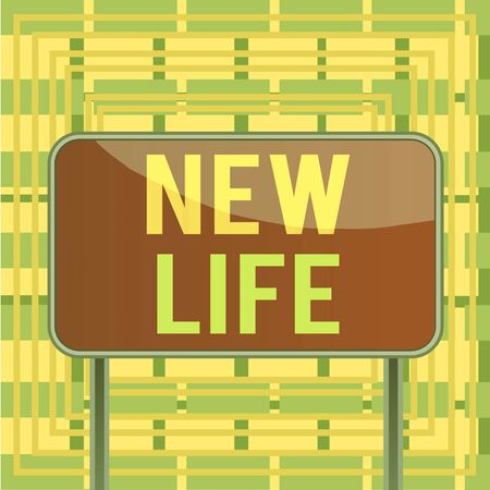 Text sign showing New Life. Business photo showcasing start of change in the existence of an individual or animal Board ground metallic pole empty panel plank colorful backgound attached