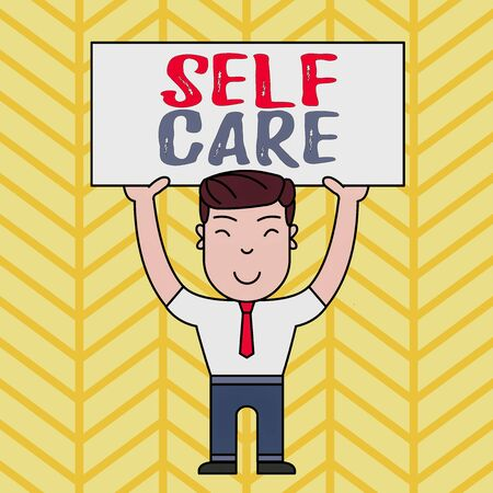 Text sign showing Self Care. Business photo showcasing Give comfort to your own body without professional consultant Smiling Man Standing Holding Big Empty Placard Overhead with Both Hands