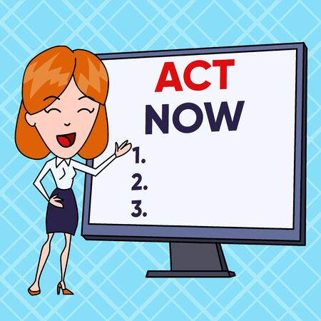 Text sign showing Act Now. Business photo text Having fast response Asking someone to do action Dont delay White Female in Standing Pointing Blank Screen Whiteboard Presentation 스톡 콘텐츠