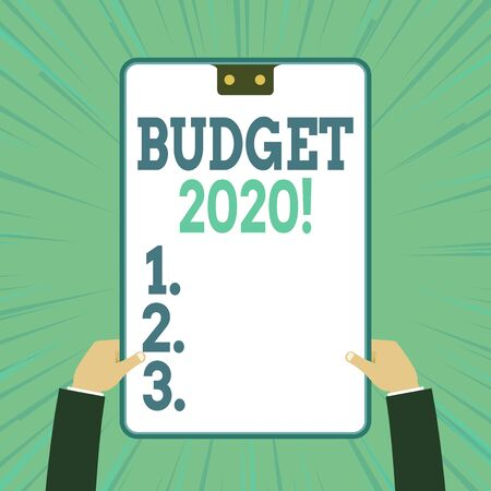 Conceptual hand writing showing Budget 2020. Concept meaning estimate of income and expenditure for next or current year Two male hands holding electronic device geometrical background Фото со стока - 131316287