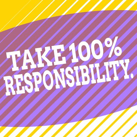 Conceptual hand writing showing Take 100 Percent Responsibility. Concept meaning be fully accountable for your Actions and Thoughts Square rectangle paper sheet load with full of pattern theme Stockfoto