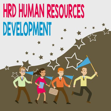 Conceptual hand writing showing Hrd Huanalysis Resources Development. Concept meaning helping employees develop demonstratingal skills Crowd Flags Headed by Leader Running Demonstration Meeting
