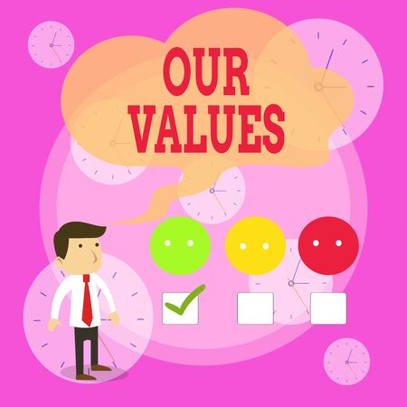 Writing note showing Our Values. Business concept for list of morals companies or individuals commit to do them White Questionnaire Survey Choice Satisfaction Green Tick