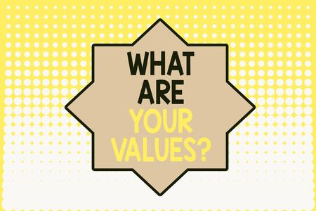 Writing note showing What Are Your Values Question. Business concept for asking someone about his good qualities Vanishing dots middle background design. Gradient Pattern. Futuristic
