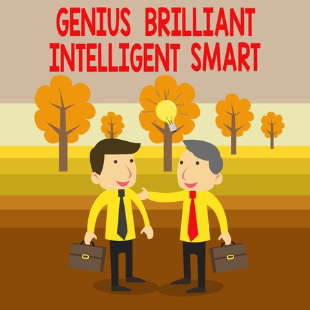 Text sign showing Genius Brilliant Intelligent Smart. Business photo text Clever Bright Knowledge Intelligence Two White Businessmen Colleagues with Brief Cases Sharing Idea Solution