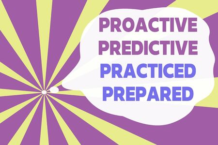 Text sign showing Proactive Predictive Practiced Prepared. Business photo text Preparation Strategies Management Abstract geometric deep design. Simulating depth background. Futuristic