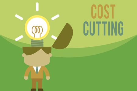 Text sign showing Cost Cutting. Business photo text actions taken to reduce the amount that is spent on a service Standing successful man suit necktie surging brilliant innovative solutions Фото со стока - 131308984