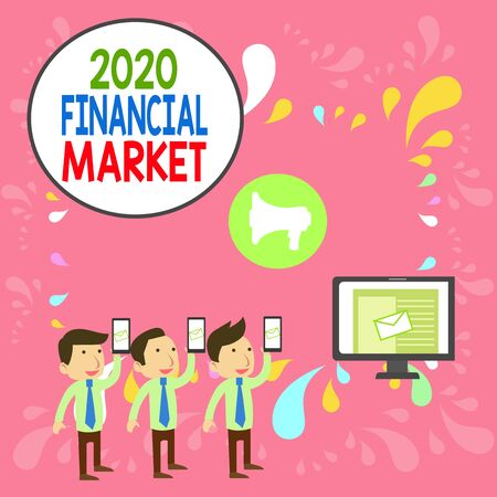 Word writing text 2020 Financial Market. Business photo showcasing place where trading of equities, bonds, currencies SMS Email Marketing Media Audience Attraction Personal Computer Loudspeaker Stockfoto