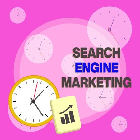 Writing note showing Search Engine Marketing. Business concept for promote Website visibility on searched result pages Layout Wall Clock Notepad with Escalating Bar Graph Arrow
