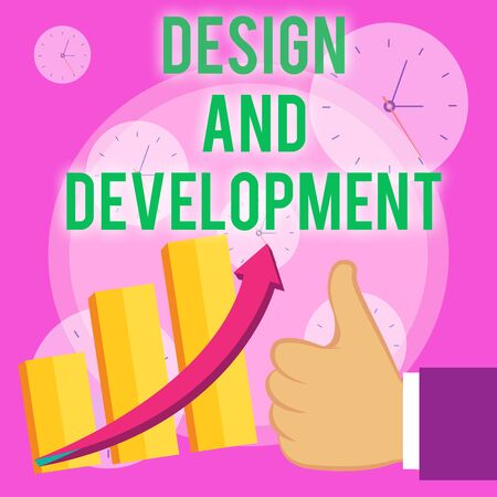 Writing note showing Design And Development. Business concept for Defining the Specification of Products and Services Thumb Up Good Performance Success Escalating Bar Graph Ascending Arrow 版權商用圖片