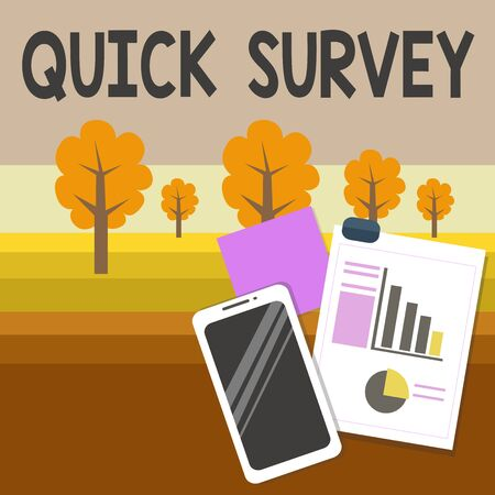 Writing note showing Quick Survey. Business concept for questionnaire that the target audience can complete right away Layout Smartphone Sticky Notes with Pie Chart and Bar Graph