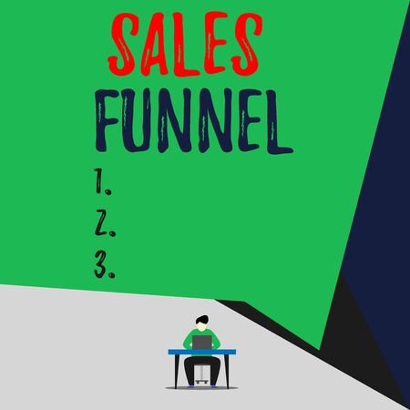 Handwriting text Sales Funnel. Conceptual photo process through which a company ells its products to buyers View young man sitting chair desk working open laptop geometric background