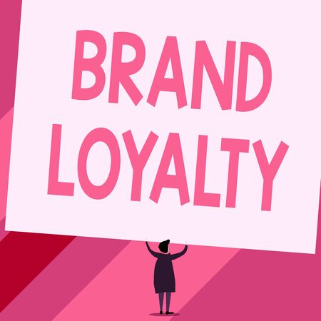Conceptual hand writing showing Brand Loyalty. Concept meaning Repeat Purchase Ambassador Patronage Favorite Trusted Short hair woman dress hands up holding blank rectangle Imagens