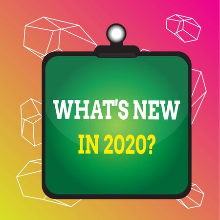 Word writing text What S New In 2020 Question. Business photo showcasing Expectation and Surprises for the coming Year Clipboard colorful background spring clip stuck bind empty plank frame Stok Fotoğraf
