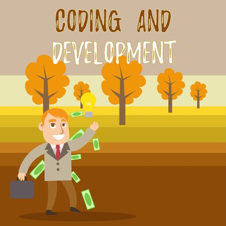 Conceptual hand writing showing Coding And Development. Concept meaning Programming Building simple assembly Programs Successful Businessman Generating Idea or Finding Solution
