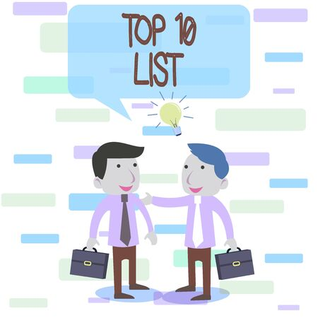 Writing note showing Top 10 List. Business concept for the ten most important or successful items in a particular list Two White Businessmen Colleagues with Brief Cases Sharing Idea Solution