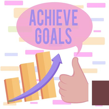 Writing note showing Achieve Goals. Business concept for Results oriented Reach Target Effective Planning Succeed Thumb Up Good Performance Success Escalating Bar Graph Ascending Arrow