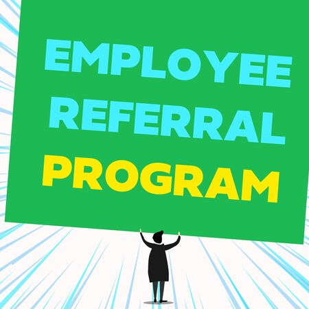 Handwriting text writing Employee Referral Program. Conceptual photo employees recommend qualified friends relatives Back view standing short hair woman dress hands up holding blank rectangle