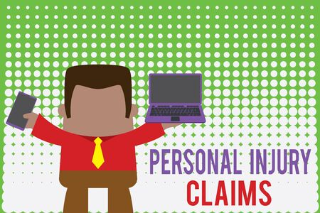 Writing note showing Personal Injury Claims. Business concept for being hurt or injured inside work environment Professional man holding laptop in left mobile phone right Banco de Imagens