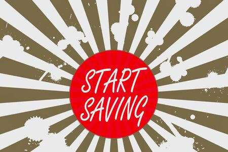 Conceptual hand writing showing Start Saving. Concept meaning money that a demonstrating keeps in an account in a bank or like Abstract geometric deep design Simulating depth and stains