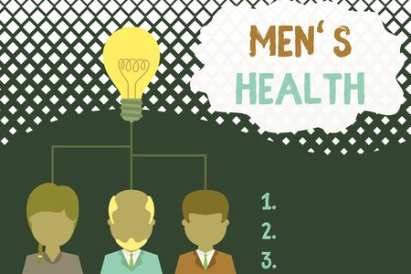 Conceptual hand writing showing Men S Health. Concept meaning State of complete physical and mental wellbeing of men Three executive persons sharing idea Startup team meeting