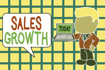 Text sign showing Sales Growth. Business photo text ability to increase revenue over a fixed period of time Standing professional businessman holding open laptop right hand side