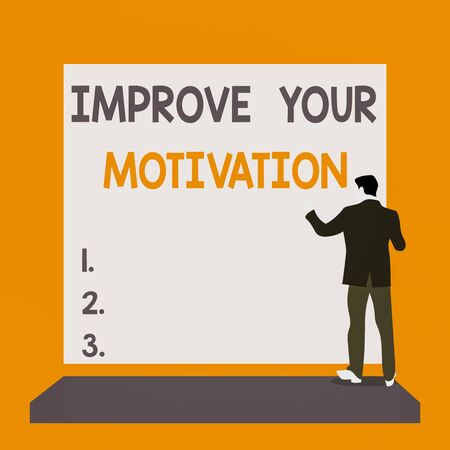Text sign showing Improve Your Motivation. Business photo text Boost your self drive Enhance Motives and Goals Back view young man dressed suit standing platform facing blank rectangle
