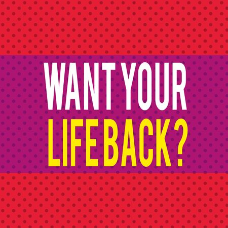 Word writing text Want Your Life Back Question. Business photo showcasing Have again our Lives Take Control of our Being Seamless Endless Infinite Polka Dot Pattern against Solid Red Background Stock Photo