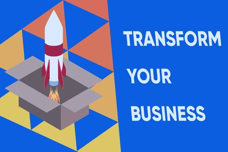 Text sign showing Transform Your Business. Business photo text Modify energy on innovation and sustainable growth Fire launching rocket carton box. Starting up project. Fuel inspiration