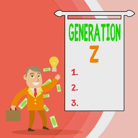 Handwriting text Generation Z. Conceptual photo name for the generation of children after the millennials Successful Businessman or Clerk Generating Good Idea or Finding Solution Фото со стока