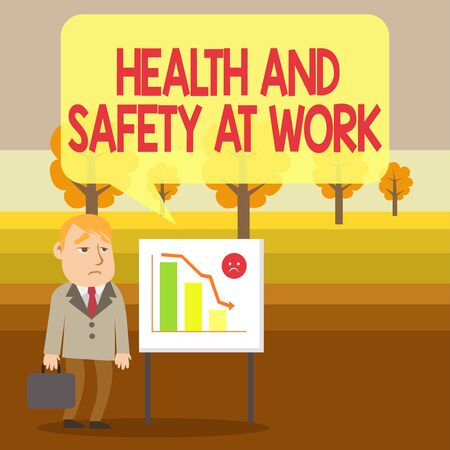 Conceptual hand writing showing Health And Safety At Work. Concept meaning Secure procedures prevent accidents avoid danger Businessman with Brief Case Standing Whiteboard Bar Chart