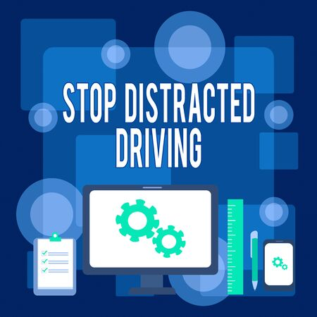 Writing note showing Stop Distracted Driving. Business concept for asking to be careful behind wheel drive slowly Business Concept PC Monitor Mobile Device Clipboard Ruler Ballpoint Pen 版權商用圖片