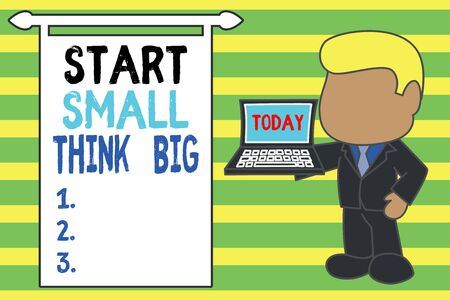 Word writing text Start Small Think Big. Business photo showcasing Initiate with few things have something great in mind Standing professional businessman holding open laptop right hand side
