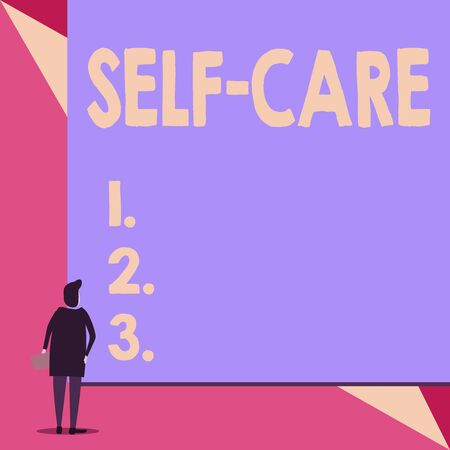 Handwriting text Self Care. Conceptual photo the practice of taking action to improve one s is own health Back view young woman watching blank big rectangle. Geometrical background