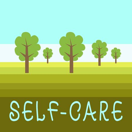 Writing note showing Self Care. Business concept for the practice of taking action to improve one s is own health Outdoor Landscape Nature Wooded Area Verdant Grass Blue Unclouded Skies