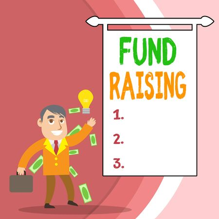 Handwriting text Fund Raising. Conceptual photo the act of seeking to generate financial support for a charity Successful Businessman or Clerk Generating Good Idea or Finding Solution Reklamní fotografie