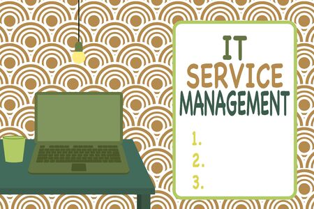 Conceptual hand writing showing It Service Management. Concept meaning Activity Directed by Policies Lifecycle of Technology Front view laptop lying on wooden desktop light bulb glass