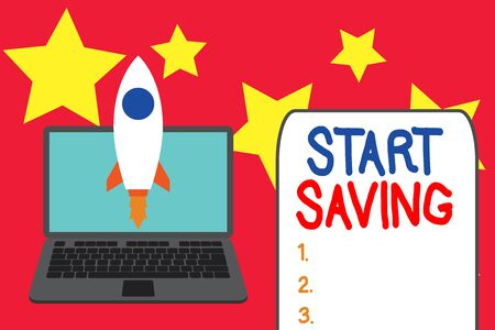 Word writing text Start Saving. Business photo showcasing money that a demonstrating keeps in an account in a bank or like Launching rocket up laptop . Startup project. Developing goal objectives