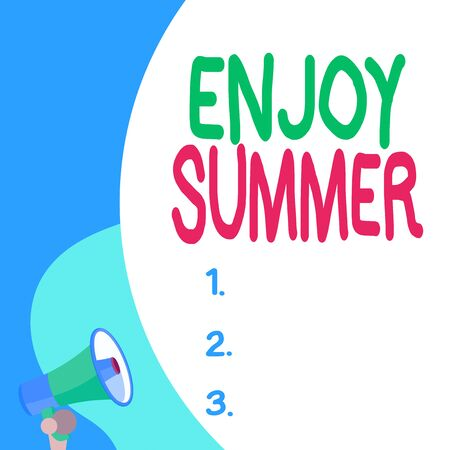 Conceptual hand writing showing Enjoy Summer. Concept meaning taking a break from school and spending holidays in the beach Blank huge balloon empty text with small megaphone. Announcement