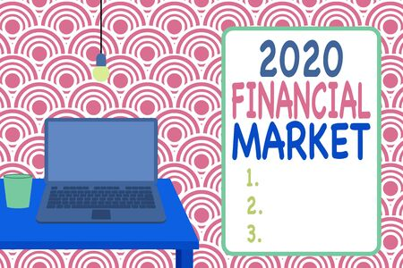 Conceptual hand writing showing 2020 Financial Market. Concept meaning place where trading of equities, bonds, currencies Front view laptop lying on wooden desktop light bulb glass