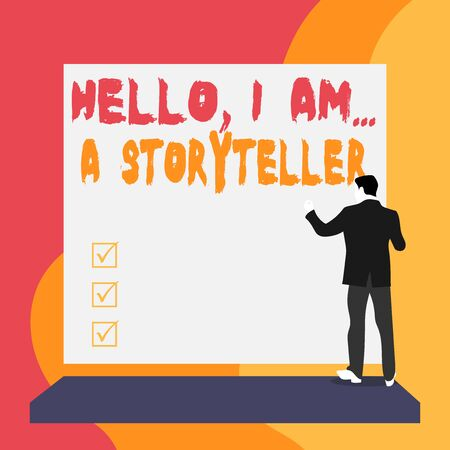 Conceptual hand writing showing Hello I Am A Storyteller. Concept meaning introducing yourself as novels article writer Back view young woman watching blank big rectangle